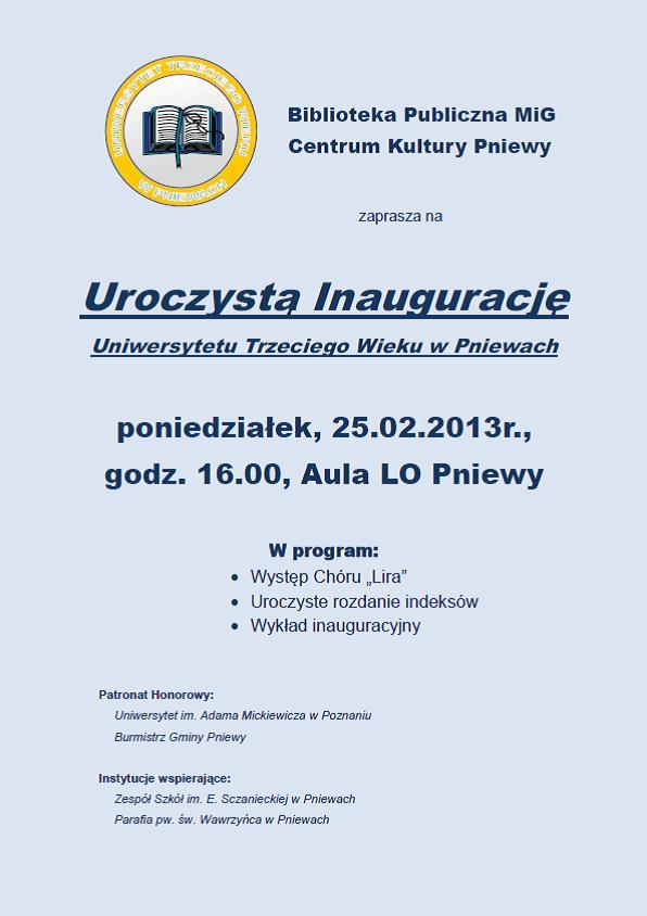 Plakat- inauguracja UTW
