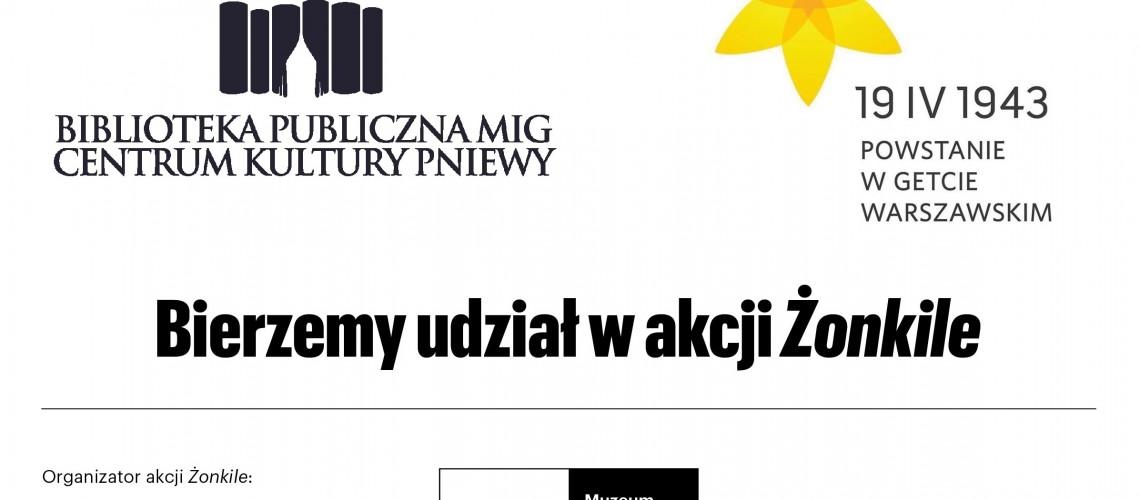 """Plansza """"Bierzemy udział w akcji Żonkile"""" z miejscem na logo"""